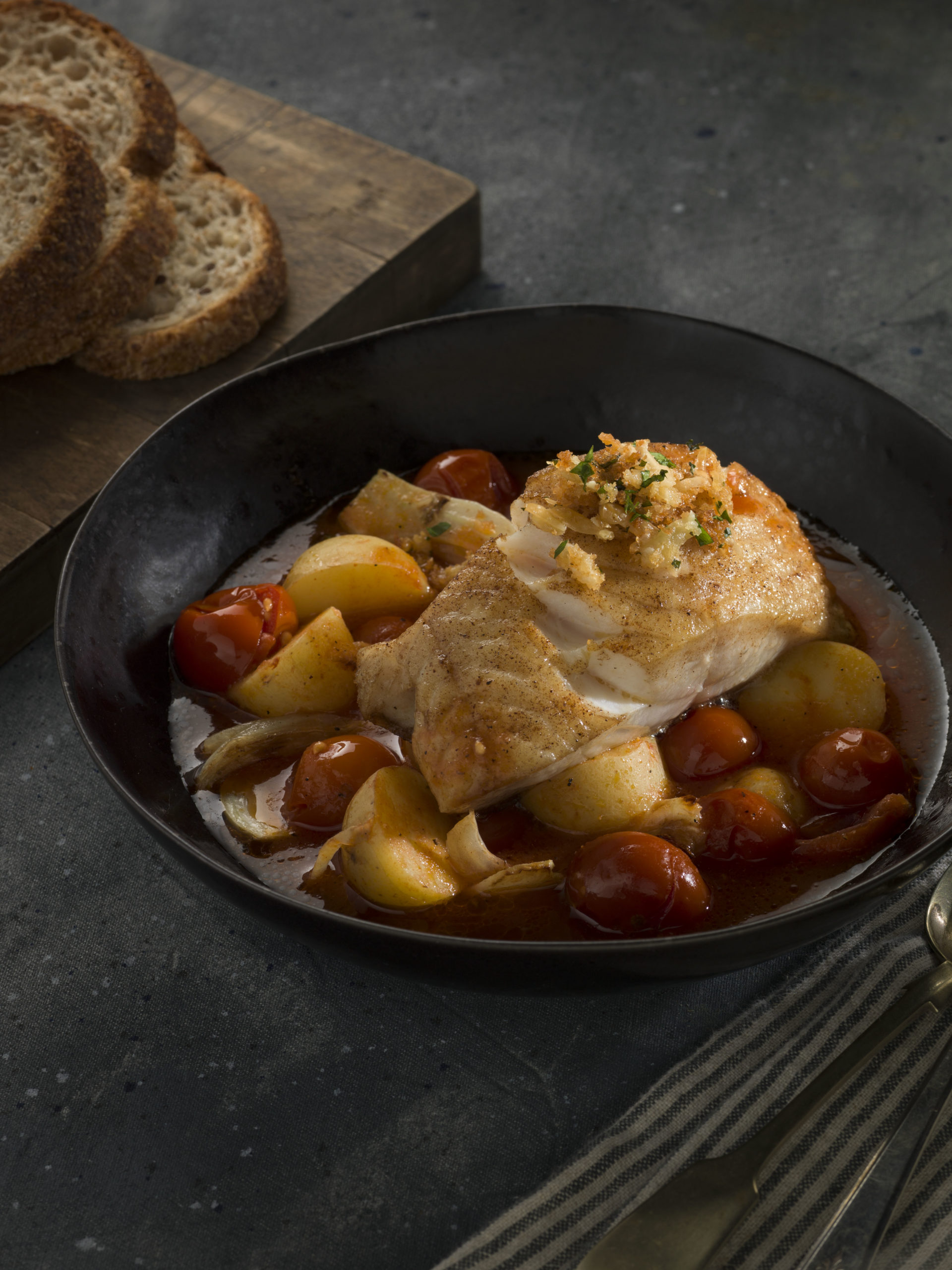 photo of the black cod with tomato brodo meal